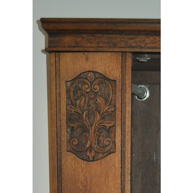 Shabby Chic Vintage Oak Armoire With Mirror For Sale - Image 3 of 5
