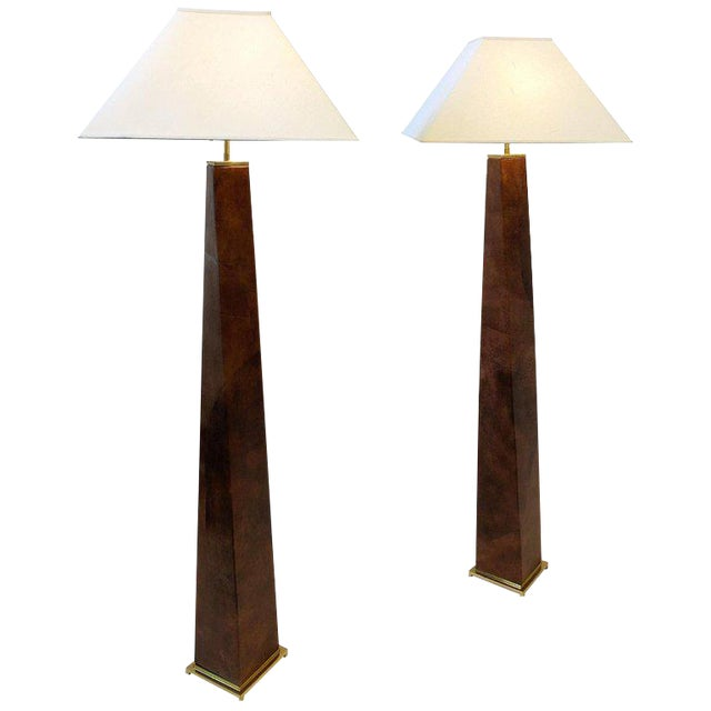 1980s Brass and Leather Floor Lamps by Karl Springer - a Pair For Sale
