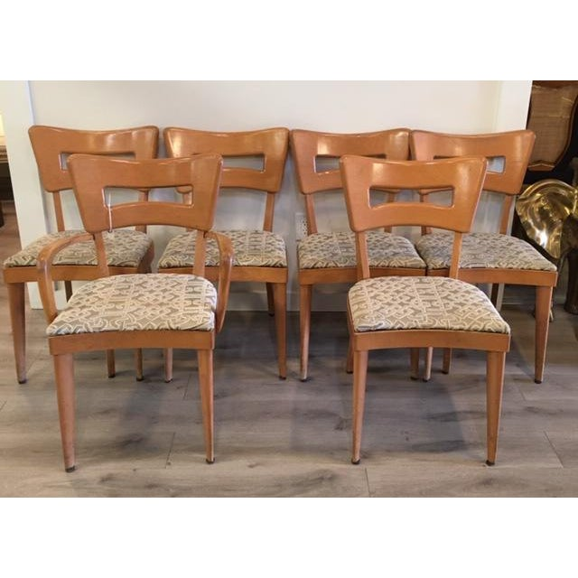 """Wood Heywood Wakefield Set of Six """"Dog Biscuit"""" Dining Chairs For Sale - Image 7 of 7"""