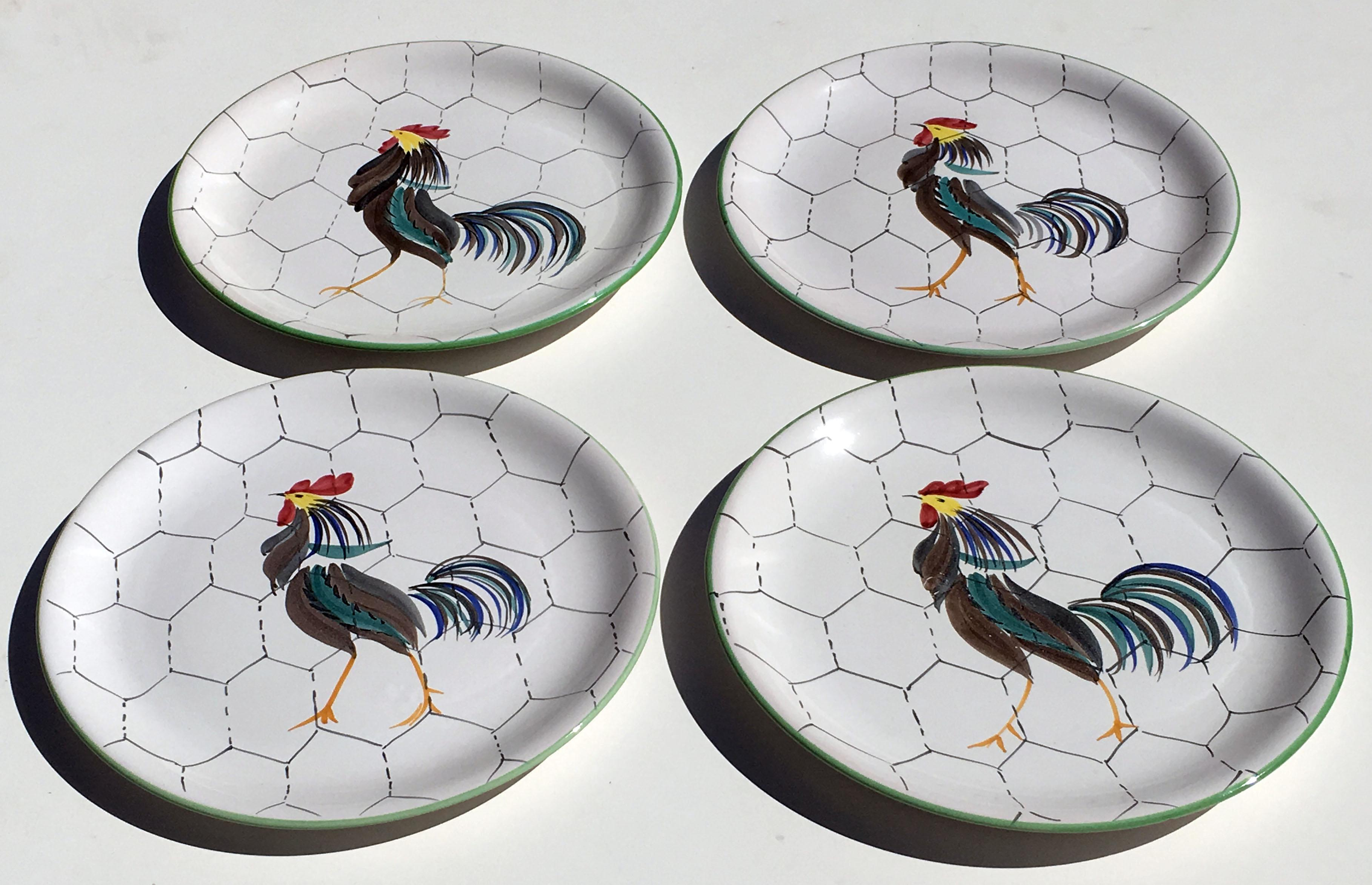 1950s Italian Hand Painted Rooster Dinner Plates - Set of 4 - Image 7 of 10  sc 1 st  Chairish & 1950s Italian Hand Painted Rooster Dinner Plates - Set of 4 | Chairish