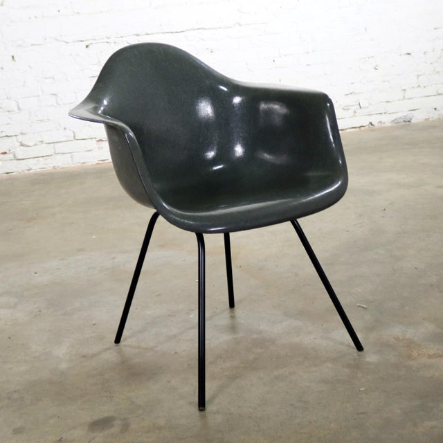 Elephant Hide Gray Eames Herman Miller Molded Fiberglass Dax Arm Shell Chair H Base For Sale - Image 13 of 13