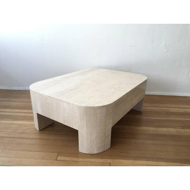 1970s Polished Italian Travertine Cocktail Table For Sale - Image 5 of 9