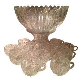 Antique Pedestal Cut Glass Punch Bowl & Cups - Set of 13