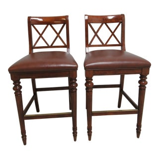 Ethan Allen British Classics Leather Bar Stools - A Pair For Sale