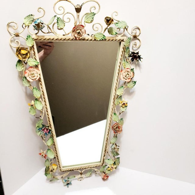 1960s Vintage Italian Shabby Chic Floral Tole Wall Mirror For Sale - Image 5 of 10