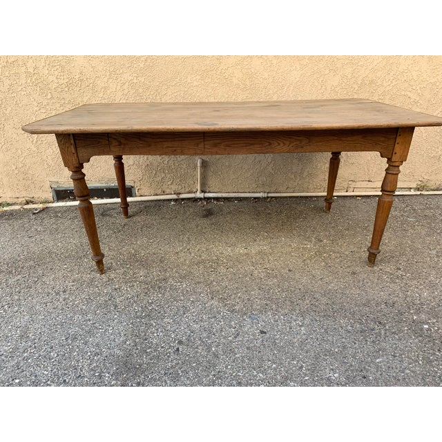 Wood Authentic Antique French Farm Table For Sale - Image 7 of 7