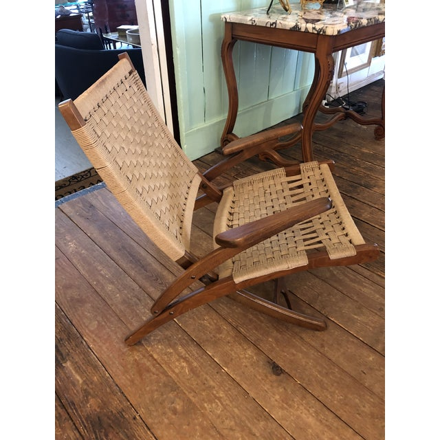 Wood Organic Mid Century Modern Woven Rope and Teak Folding Armchair For Sale - Image 7 of 12