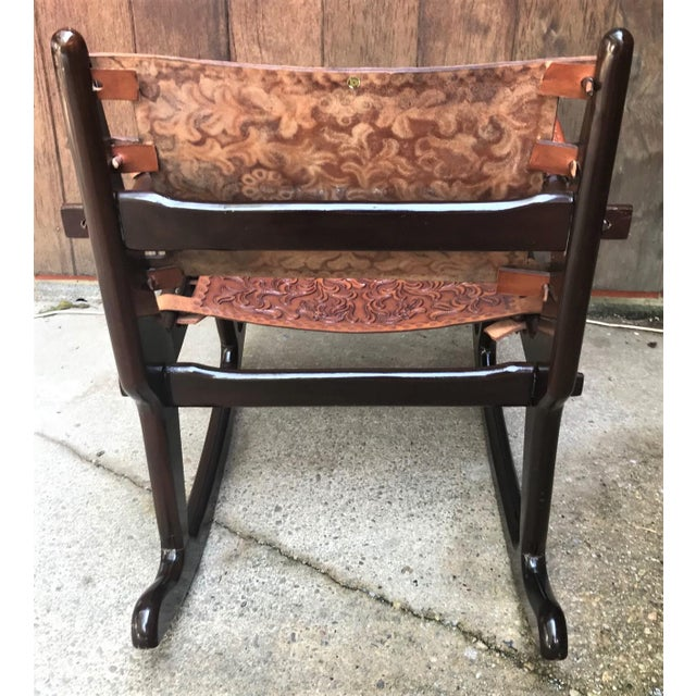 Angel I. Pazmino Mid Century Angel Pazmino Sculptural Rosewood Rocking Chair For Sale - Image 4 of 10