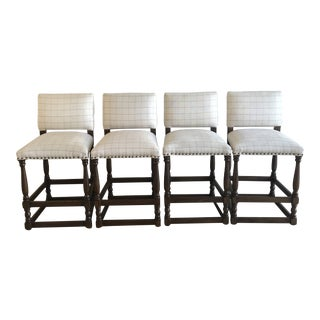 Duralee Grid Transitional Armless Hand Carved Wood Counter Stools - Set of 4 For Sale