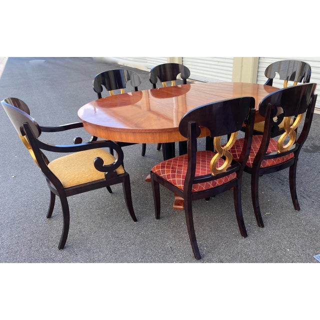 Curved Gold Leaf Lacquered Scroll Arm Dining Chairs - Set of 8 For Sale - Image 10 of 12