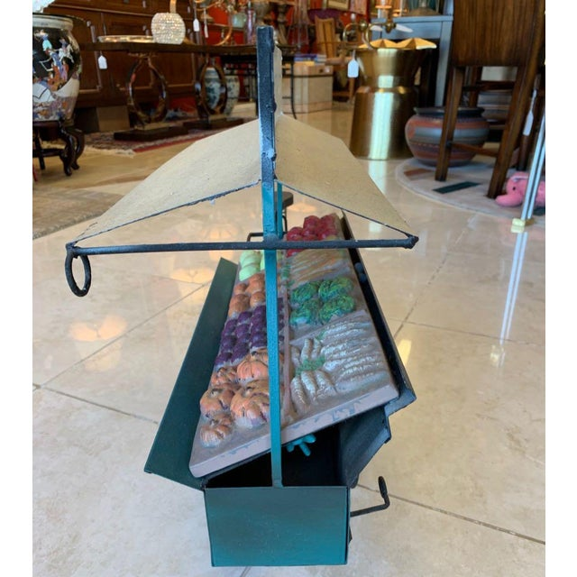 1990s Curtis Jere Fruit and Vegetable Cart Metal Sculpture For Sale - Image 5 of 9