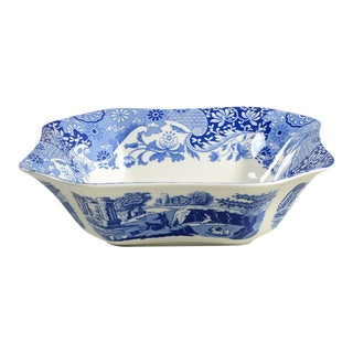 "Spode Blue Italian 9"" Square Serving Bowl For Sale"