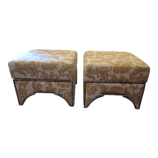 Upholstered Storage Ottomans - A Pair For Sale