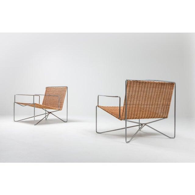 Gelderland Rattan & Steel Armchairs by Gelderland - 1964 For Sale - Image 4 of 13