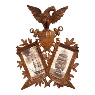 Carved Antique American Double Picture Frame Depicting Us Navy Crest For Sale