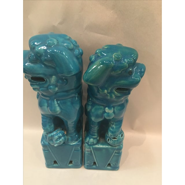 Asian Mismatched Turquoise Foo Dogs - Pair For Sale - Image 3 of 6