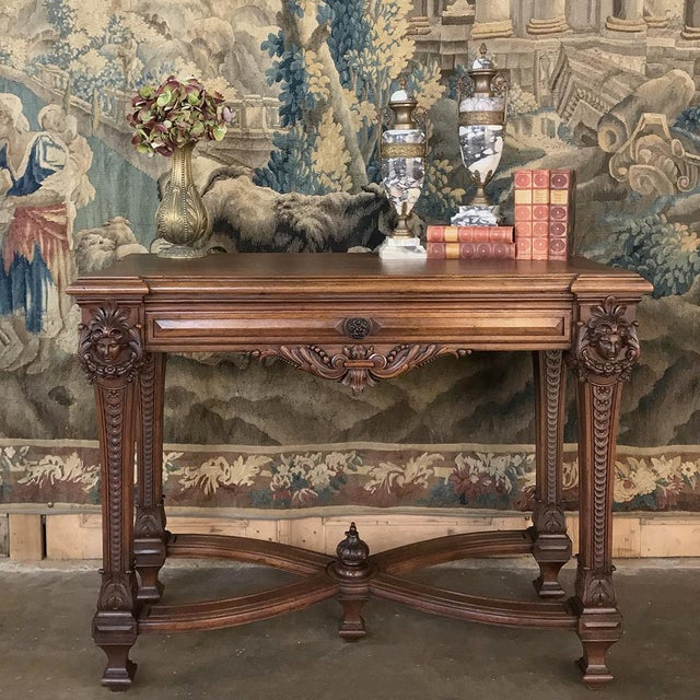 19th Century French Louis XIV Walnut Console represents the epitome of the style, with exceptionally sculpted legs, apron...