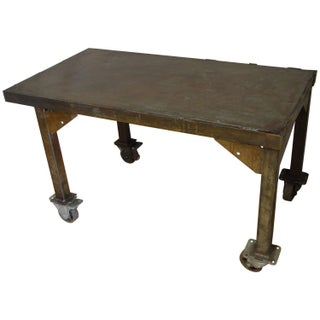 Steel Rolling Coffee or End Table For Sale