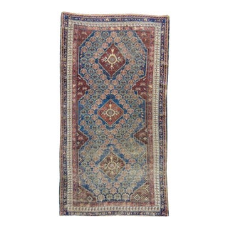 """1870s Antique Medallion Blue Tan Hand-Knotted Rug - 3'2"""" X 5'10"""" For Sale"""