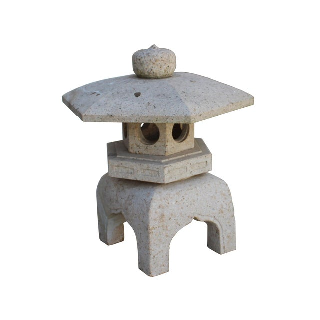 2010s Chinese Zen Off White Gray Hexagon Stone Garden Lantern Statue For Sale - Image 5 of 7