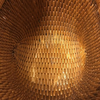 Mid-20th Century Woven Reed Basket With Wood Handles Preview