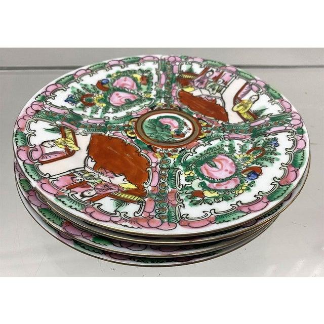 Modern Vintage Small Rose Medallion Decorative Plates Set of 4 For Sale - Image 3 of 12