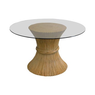 """McGuire Style Wheat Sheaf Rattan 48"""" Round Glass Top Dining Table For Sale"""