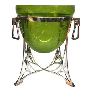 Wmf Green Glass Epergne on Silver Plated Stand For Sale