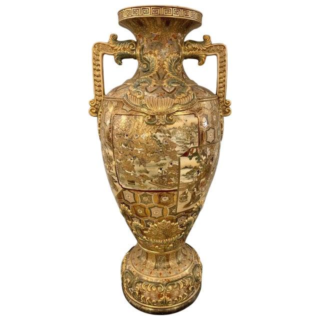 Satsuma Thousand Face Vase or Urn Palace Sized Twin Handled For Sale