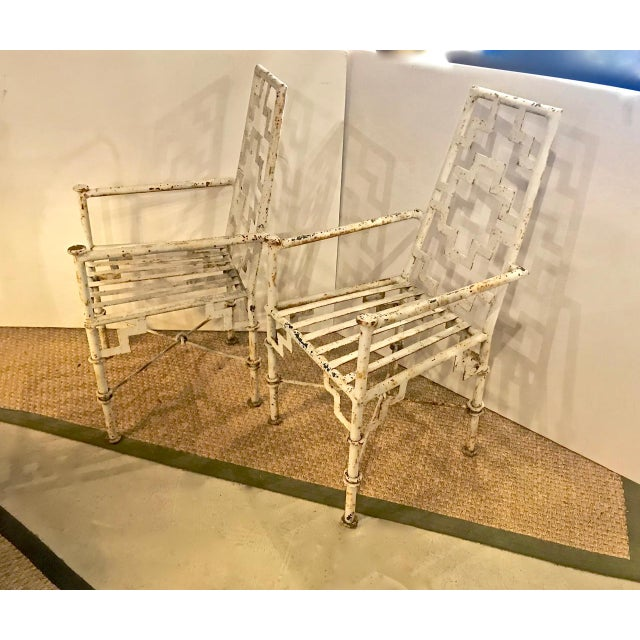 White Art Deco Iron Patio Chairs - a Pair For Sale - Image 8 of 9