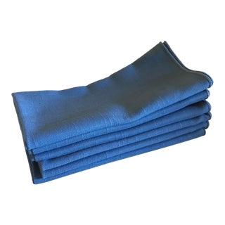 Vintage Blue Woven Dinner Napkins - Set of 6 For Sale