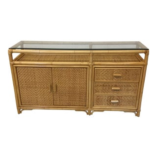 Vintage Bamboo & Wicker Floating Glass Top Credenza Buffet For Sale