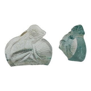Blenko Glass Frog Bookends-Scarce - a Pair For Sale