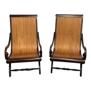 Dark Wood & Bamboo Chairs - A Pair For Sale