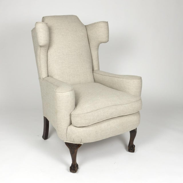 Large Scale English Wing Chair With Mahogany Frame, Carved Mahogany Ball And Claw Feet, Circa 1870 For Sale - Image 4 of 13