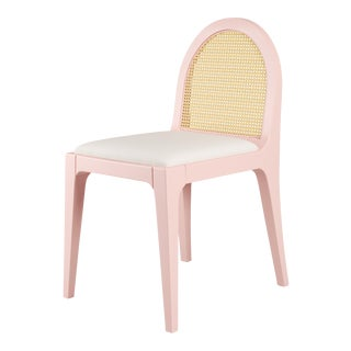 Juliette Dining Chair - Coral Dust, Optic White Linen For Sale