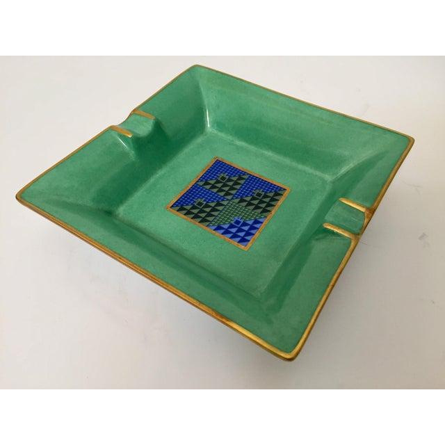 Limoges, France Modern Porcelain Square Green and Gold Ashtray For Sale - Image 11 of 12