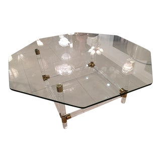 Charles Hollis Jones Brass & Lucite Faux Bamboo Coffee Table
