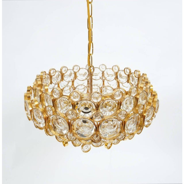 """Stunning 19.7"""" (diameter) gold-plated chandelier by Palwa. With a taste for excellence in both craftsmanship and style..."""