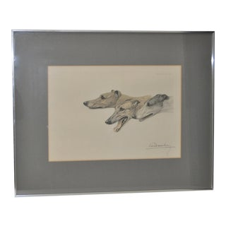 Greyhounds Etching With Aquatint by Leon Danchin C.1920