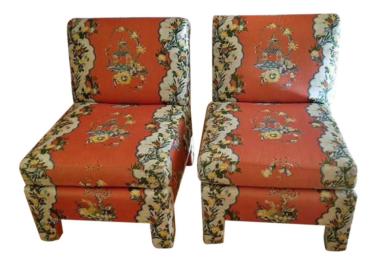 Vintage Chinoiserie Accent Chairs   A Pair