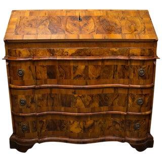 19th Century Italian Rococo Burl Walnut Slant Front Desk For Sale