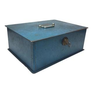 Vintage Blue Steel Lock Box