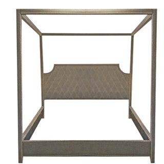 Modern Caracole Gray Velvet King Size Poster Bed Prototype For Sale