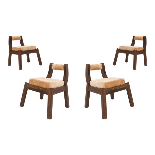 Italian Walnut Dining Chairs - 1950s For Sale