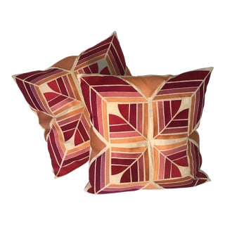 Trina Turk Modern Boho Chic Embroidered Down Pillows - A Pair For Sale
