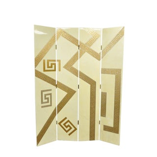 Artmax Decorator Greek Key Hollywood Regency Style 4 Panel Screen Room Divider For Sale