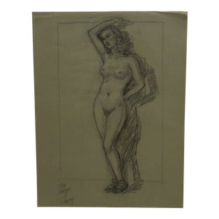 "1949 Mid-Century Modern Original Drawing on Paper, ""Nude Woman With a Shadow"" by Tom Sturges Jr"