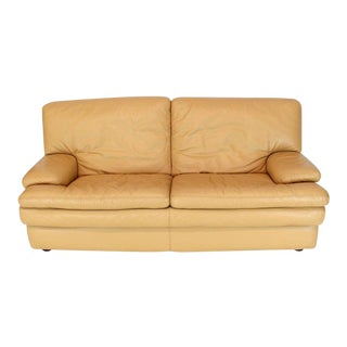 Roche Bobois Light Peach Leather Loveseat Small Sofa For Sale