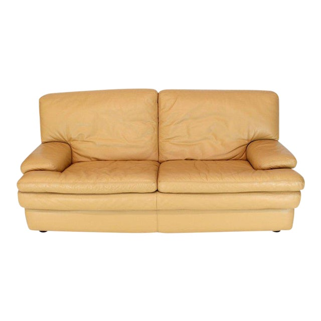 Marvelous Roche Bobois Light Peach Leather Loveseat Small Sofa Ibusinesslaw Wood Chair Design Ideas Ibusinesslaworg